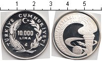 Изображение Монеты Турция 10.000 лир 1988 Серебро Proof-