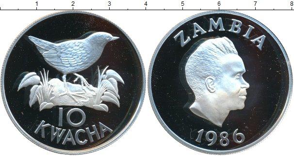 Картинка Монеты Замбия 10 квач Серебро 1986