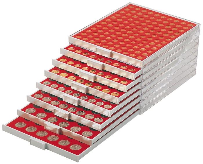 Картинка Аксессуары для монет Квадратные ячейки Lindner (Германия) Планшет с 3 прямоугольными ячейками размером 158 х 100 мм (2603)  0