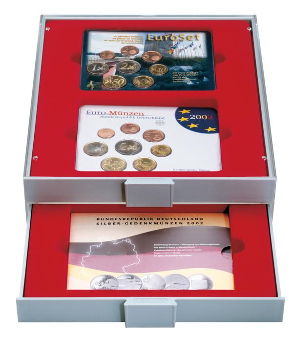 Картинка Аксессуары для монет Квадратные ячейки Lindner (Германия) Двойной планшет с прямоугольными ячейками (2855)  0