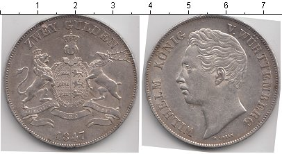 Картинка Монеты Вюртемберг 2 гульдена Серебро 1847