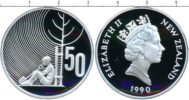 Картинка Монеты Новая Зеландия 50 центов Серебро 1990