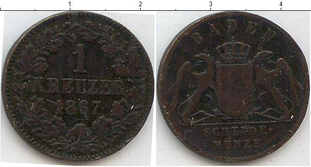 Картинка Монеты Баден 1 крейцер Медь 1867