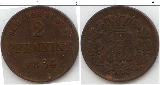 Картинка Монеты Бавария 2 пфеннига Медь 1864