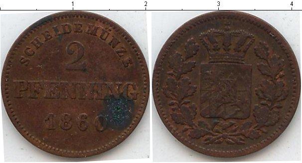 Картинка Монеты Бавария 2 пфеннига Медь 1860