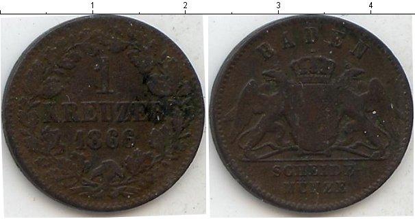 Картинка Монеты Баден 1 крейцер Медь 1866