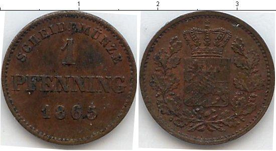 Картинка Монеты Бавария 1 пфенниг Медь 1865