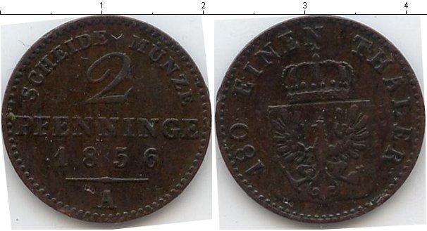 Картинка Монеты Пруссия 2 пфеннига Медь 1856