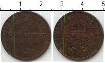 Изображение Монеты Пруссия 3 пфеннига 1869 Медь XF А