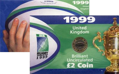 Изображение Подарочные монеты Великобритания Регби 1999 Биметалл UNC
