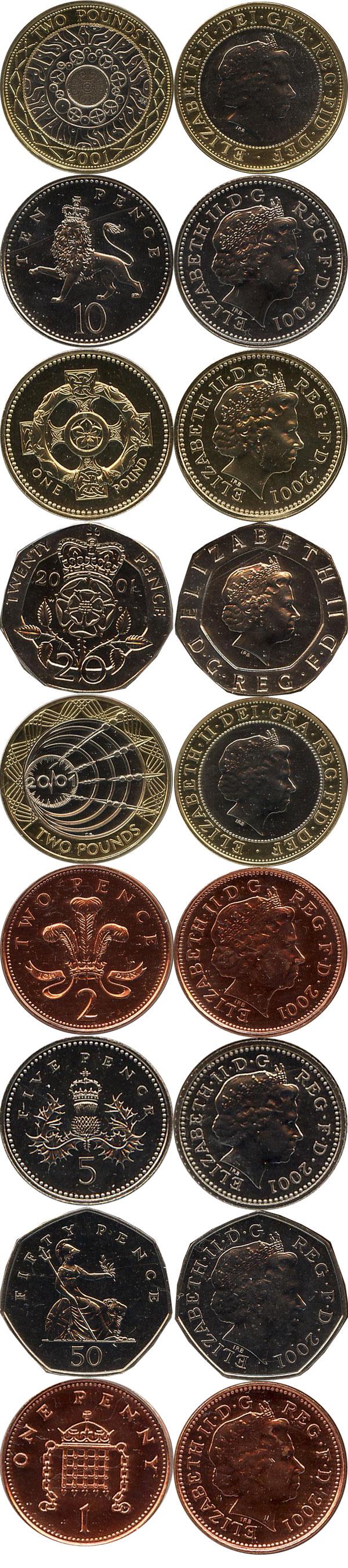 Набор монет Великобритания Годовой набор 2001 2001 UNC фото 2