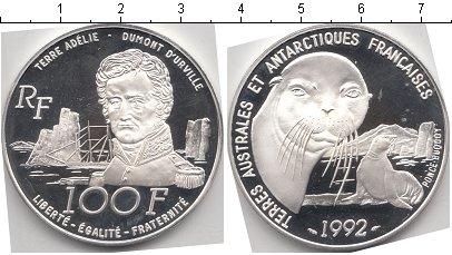 Картинка Монеты Антарктика 100 франков Серебро 1992