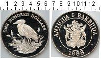 Изображение Монеты Антигуа и Барбуда 100 долларов 1988 Серебро Proof KM#6. Серебряная мон