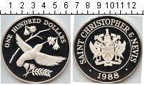 Изображение Монеты Сент Киттс-Невис 100 долларов 1988 Серебро Proof KM#6. Серебряная мон