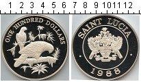 Изображение Монеты Сент-Люсия 100 долларов 1988 Серебро Proof Серебряная монета но