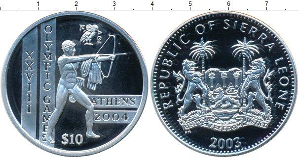 Картинка Монеты Сьерра-Леоне 10 леоне Серебро 2003
