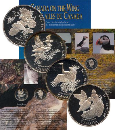 Изображение Подарочные наборы Канада Птицы Канады 1995 Серебро Proof Подарочный набор сос
