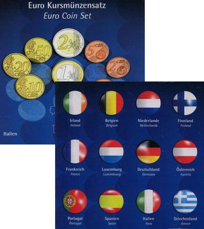 Изображение Подарочные монеты Евросоюз 12 Евронаборов 2002  UNC В подарочный набор в