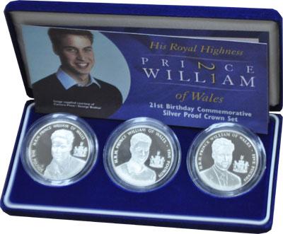 Изображение Подарочные монеты Олдерни 21-ый День Рождения Принца Уэльского 2003 Серебро Proof Подарочный набор пос