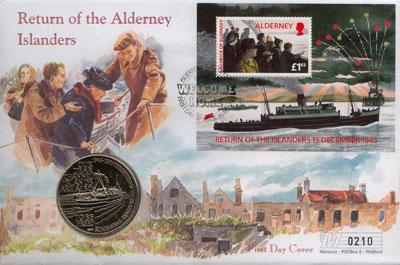 Изображение Подарочные монеты Олдерни 2 фунта 1995 Медно-никель UNC Набор посвящён боевы