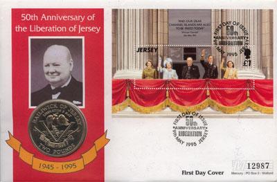 Изображение Подарочные монеты Остров Джерси 2 фунта 1995 Медно-никель UNC `Подарочный набор по