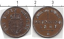 Изображение Монеты Пруссия 1 пфенниг 1849 Медь  A