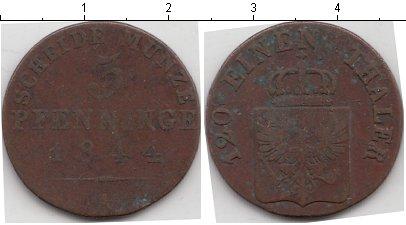 Картинка Монеты Пруссия 3 пфеннига Медь 1844
