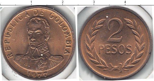 Картинка Мелочь Колумбия 2 песо Медь 1977