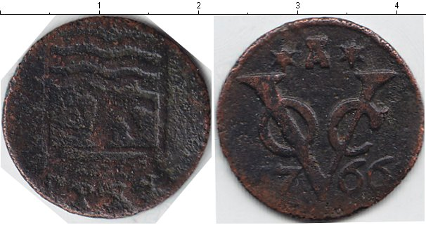 Картинка Монеты Нидерландская Индия 1 дьюит Медь 1766