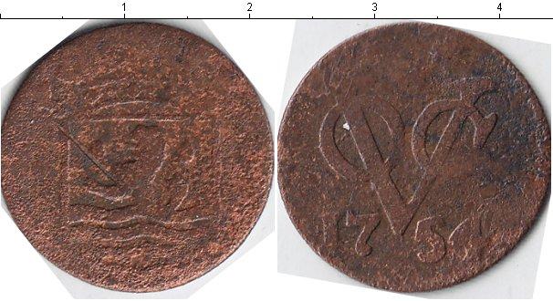 Картинка Монеты Нидерландская Индия 1 дьюит Медь 1754