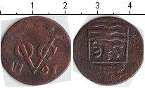 Изображение Монеты Нидерландская Индия 1 дьюит 1791 Медь VF Зеландия