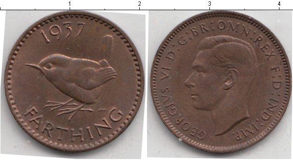 Картинка Монеты Великобритания 1 фартинг Медь 1937