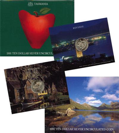 Изображение Подарочные монеты Австралия Остров Тасмания 1991 Серебро UNC `Подарочная монета п