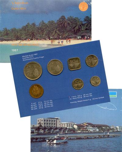 Изображение Подарочные монеты Аруба Выпуск 1987 года 1987  UNC Набор монет 1987 год