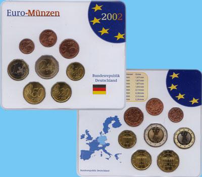 Изображение Подарочные монеты Германия Евронабор 2002 года 2002  UNC