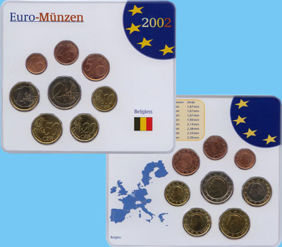 Изображение Подарочные наборы Бельгия Евронабор 1999-2000 гг, 2002  UNC В наборе 8 монет ном