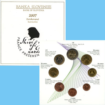 Изображение Подарочные монеты Словения Евронабор 2007 года выпуска 2007  UNC Евронабор 2007 года