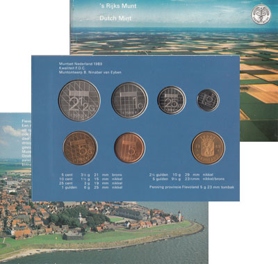Изображение Подарочные монеты Нидерланды Выпуск 1989 года 1989  UNC В наборе 6 монет ном