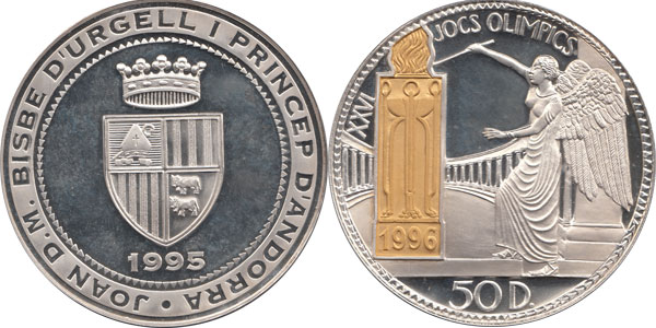 Набор монет Андорра 26 Олимпийские игры Серебро 1995 Proof- фото 2
