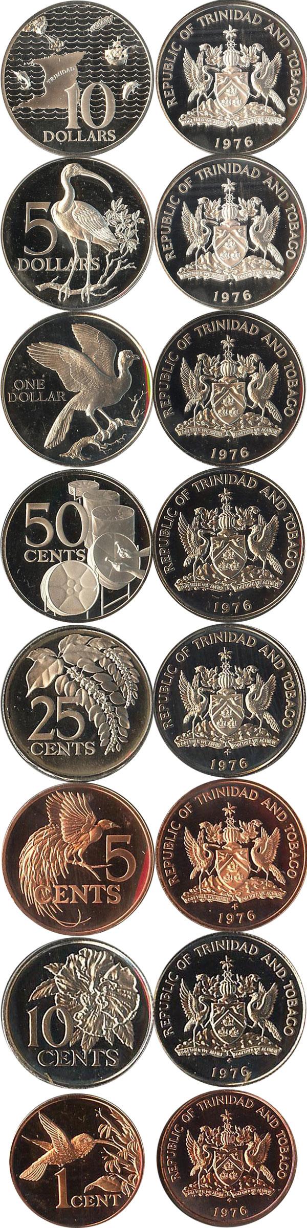Картинка Подарочные наборы Тринидад и Тобаго Выпуск памятных монет 1976 года  1976