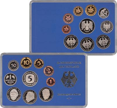 Изображение Подарочные монеты ФРГ Монеты 1998 (чеканка Гамбурга) 1998  Proof В наборе 10 монет 19