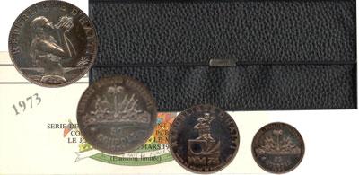 Изображение Подарочные наборы Гаити Памятные монеты 1973 1973 Серебро Proof- Представляем Вам под