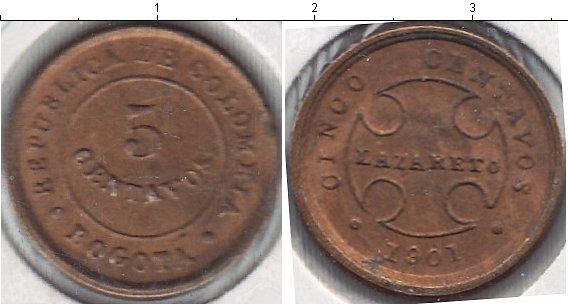 Картинка Мелочь Колумбия 5 сентаво Медно-никель 1901