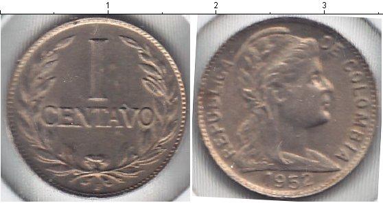 Картинка Мелочь Колумбия 1 сентаво Медно-никель 1952