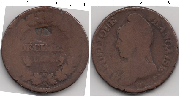 Картинка Монеты Франция 1 десим Медь 0