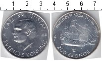 Изображение Монеты Швеция 200 крон 1990 Серебро UNC- Карл XVI Густав