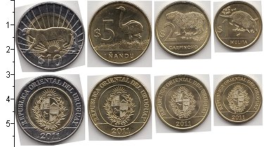 Изображение Наборы монет Уругвай Уругвай 2011-2012 2012  UNC В наборе 4 монеты но