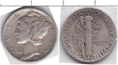 Картинка Мелочь США 1 дайм Серебро 1941
