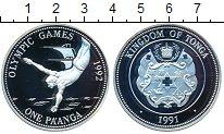 Изображение Монеты Тонга 1 паанга 1991 Серебро Proof Олимпиада-1992 в Бар