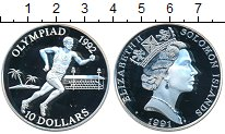 Изображение Монеты Соломоновы острова 10 долларов 1991 Серебро Proof Олимпиада-1992 в Бар